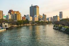 Horizonte de Hiroshima y Ota River en Japón Foto de archivo libre de regalías