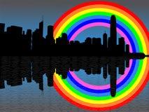 Horizonte de Hong-Kong con el arco iris Foto de archivo libre de regalías
