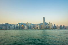 Horizonte de Hong Kong con la opinión Victoria Harbor fotos de archivo