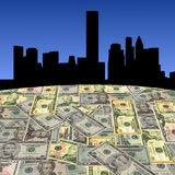 Horizonte de Houston con los dólares Foto de archivo