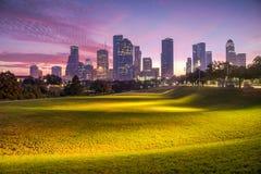 Horizonte de Houston en el amanecer Fotos de archivo