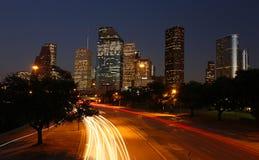 Horizonte de Houston en la noche Fotos de archivo