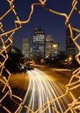 Horizonte de Houston en la noche Imágenes de archivo libres de regalías