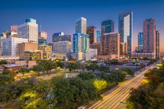 Horizonte de Houston, Tejas, los E.E.U.U. fotografía de archivo