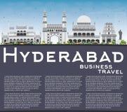 Horizonte de Hyderabad con Gray Landmarks, el cielo azul y el espacio de la copia ilustración del vector