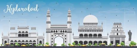 Horizonte de Hyderabad con Gray Landmarks y el cielo azul stock de ilustración