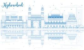Horizonte de Hyderabad del esquema con las señales azules y las reflexiones ilustración del vector