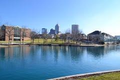 Horizonte de Indianapolis en Superbowl domingo 2012 fotografía de archivo libre de regalías