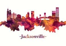 Horizonte de Jacksonville la Florida en rojo stock de ilustración