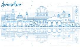Horizonte de Jerusalén del esquema con los edificios azules y las reflexiones ilustración del vector