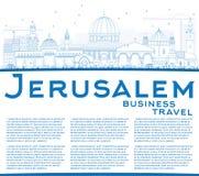 Horizonte de Jerusalén del esquema con los edificios y el espacio azules de la copia ilustración del vector