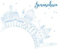 Horizonte de Jerusalén del esquema con los edificios y el espacio azules de la copia libre illustration