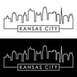 Horizonte de Kansas City estilo linear stock de ilustración