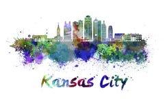 Horizonte de Kansas City V2 en acuarela ilustración del vector