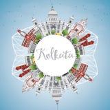 Horizonte de Kolkata con el espacio de Gray Landmarks y de la copia libre illustration