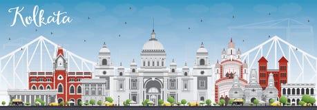 Horizonte de Kolkata con Gray Landmarks y el cielo azul libre illustration