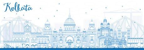 Horizonte de Kolkata del esquema con las señales azules ilustración del vector