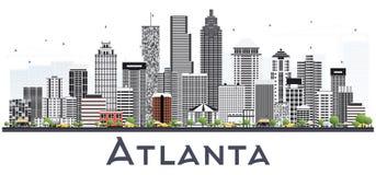 Horizonte de la ciudad de Atlanta Georgia los E.E.U.U. con Gray Buildings Isolated encendido ilustración del vector