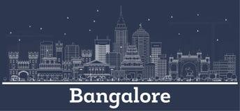 Horizonte de la ciudad de Bangalore la India del esquema con los edificios blancos libre illustration