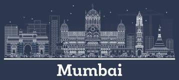 Horizonte de la ciudad de Bombay la India del esquema con los edificios blancos stock de ilustración