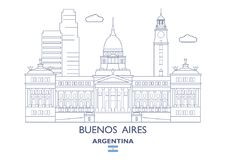 Horizonte de la ciudad de Buenos Aires, la Argentina ilustración del vector