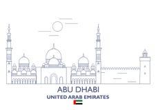 Horizonte de la ciudad de Abu Dhabi, United Arab Emirates Ilustración del Vector