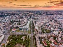 Horizonte de la ciudad de Bucarest imágenes de archivo libres de regalías