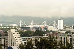Horizonte de la ciudad de Cardiff, Reino Unido Fotos de archivo libres de regalías