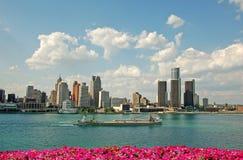 Horizonte de la ciudad de Detroit Foto de archivo libre de regalías