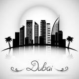 Horizonte de la ciudad de Dubai con la reflexión Diseño tipográfico Fotografía de archivo
