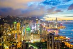 Horizonte de la ciudad de Hong-Kong Imagen de archivo libre de regalías