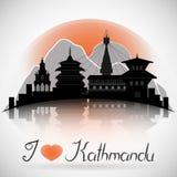 Horizonte de la ciudad de Katmandu Nepal con la reflexión Fotos de archivo libres de regalías
