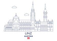Horizonte de la ciudad de Linz, Austria stock de ilustración