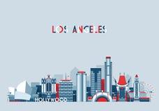 Horizonte de la ciudad de Los Ángeles Estados Unidos plano ilustración del vector