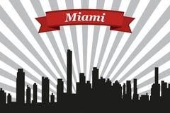 Horizonte de la ciudad de Miami con el fondo y la cinta de los rayos Imágenes de archivo libres de regalías
