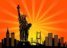 Horizonte de la ciudad de Nueva York Manhattan ilustración del vector