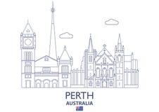 Horizonte de la ciudad de Perth, Australia stock de ilustración