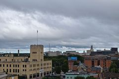 Horizonte de la ciudad de Rochester NY de desatención Foto de archivo
