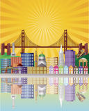Horizonte de la ciudad de San Francisco en la ilustración de la salida del sol libre illustration