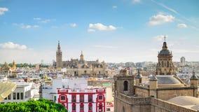 Horizonte de la ciudad de Sevilla, España almacen de video