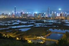 Horizonte de la ciudad de Shenzhen, China Imágenes de archivo libres de regalías