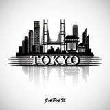 Horizonte de la ciudad de Tokio con la reflexión Diseño tipográfico Fotos de archivo libres de regalías