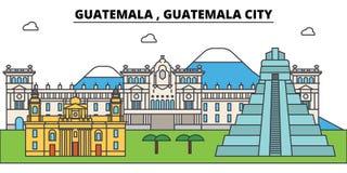 Horizonte de la ciudad del esquema de Guatemala, ciudad de Guatemala, ejemplo linear stock de ilustración
