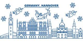 Horizonte de la ciudad del invierno de Alemania, Hannover Feliz Navidad, nuevo feliz Imagen de archivo