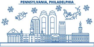 Horizonte de la ciudad del invierno de los E.E.U.U., Pennsylvania, Philadelphia La Feliz Navidad y la Feliz Año Nuevo adornaron l libre illustration