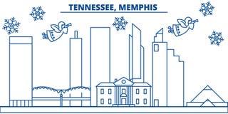 Horizonte de la ciudad del invierno de los E.E.U.U., Tennessee, Memphis La Feliz Navidad y la Feliz Año Nuevo adornaron la bander stock de ilustración
