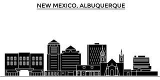 Horizonte de la ciudad del vector de la arquitectura de los E.E.U.U., New México Albuquerque, paisaje urbano del viaje con las se ilustración del vector