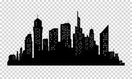 Horizonte de la ciudad en colores grises Paisaje urbano de la silueta de los edificios Calles grandes Estilo de Minimalistic Ilus Foto de archivo libre de regalías