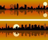 Horizonte de la ciudad en el amanecer stock de ilustración