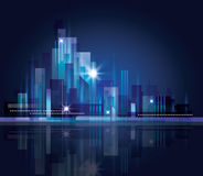 Horizonte de la ciudad en la noche libre illustration